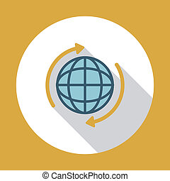 Globe flat icon with long shadow