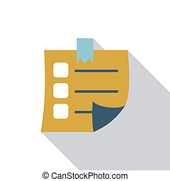 Sticky Note flat icon with long shadow