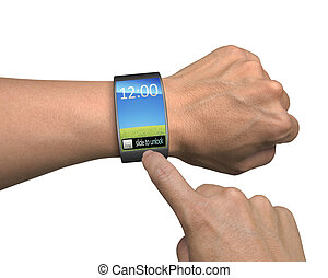 hand with smartwatch and finger touch colorful screen...
