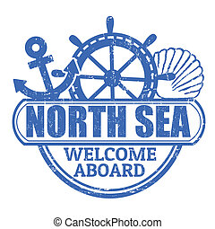 North Sea stamp - Grunge rubber stamp with the text North...