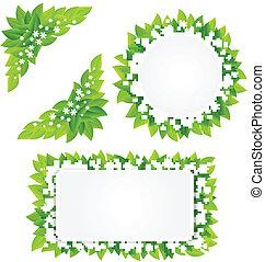 hojas, flores, verde, blanco, marco