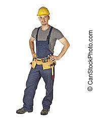 young manual worker standing - standing young caucasian...