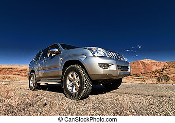 4x4 exploring - Travelling with a big 4x4 car in a desert...
