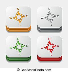 square button: compass