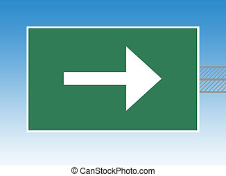 Directional highway sign - Directional arrow on highway or...