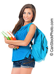Student girl - Beautiful student girl with backpack and...