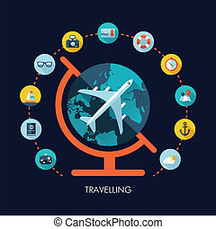 Illustration of vector travel flat design composition with...