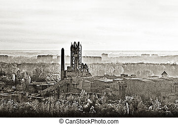 Old cemnet factory - Old cement factory, old style photo,...