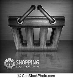 Metallic shopping basket