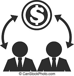 Business Man and Money Black Icon