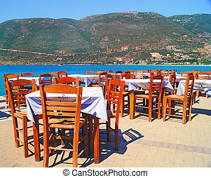 Traditional Greek tavern at the beach in Greece