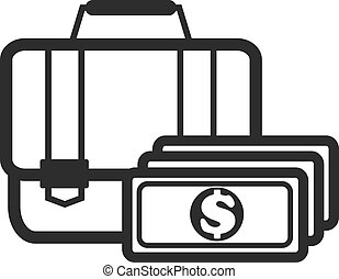 Suitcase with Money Black Icon