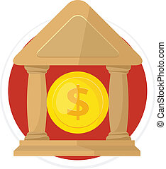 Vector Bank Flat Round Icon