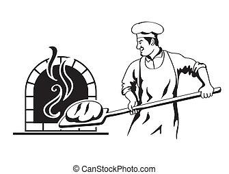 profession of chef - baker prepares bread in a stone oven...