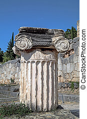Single ionic order capital at Delphi archaeological site in...