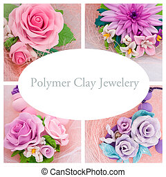 Collage of a polymer clay jewelery: floral jewelery made of...