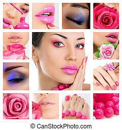 Makeup Collage. Beautiful young women with stylish bright...