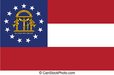Georgia State Flag - The red and white stripes flag of the...