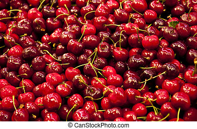 Cherries and Stems - Fresh, red Cherries at a local farmers...