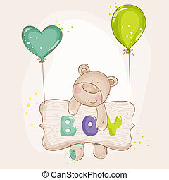 Baby Bear with Balloons - Baby Shower or Baby Arrival Cards...
