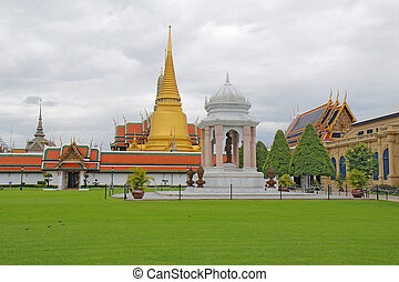 Wat Phra Kaew and the Grand Palace complex in Bangkok,...