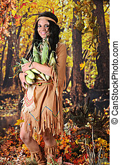 Indian Maiden Carrying Corn - A beautiful Indian teen...