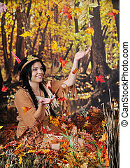 Indian Maiden Catching Falling Leaves - A beautiful Indian...