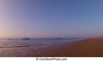 Ria Formosa - Sunset Timelapse B - Sunset Pan timelapse boat...