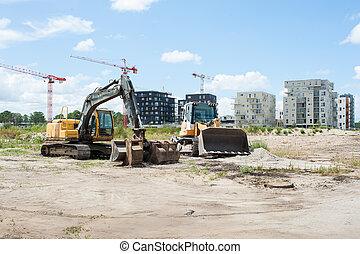 Construction building with bulldoze - Construction urban...