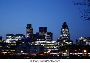 London skyline - The Gherkin and other modern buildings