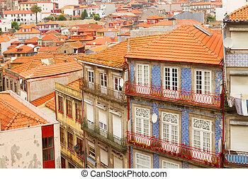 Porto, antigas, cidade, casas, histórico, parte