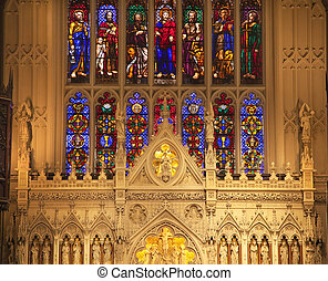 Trinity Church New York City Inside Stained Glass Altar...