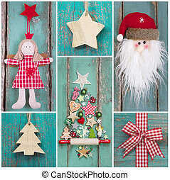 Country style: christmas decoration in classic colors green...