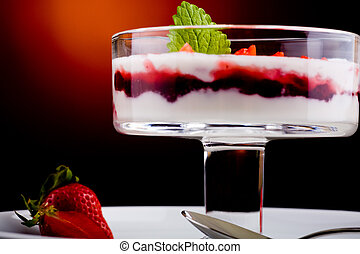 dessert with berries and fruits