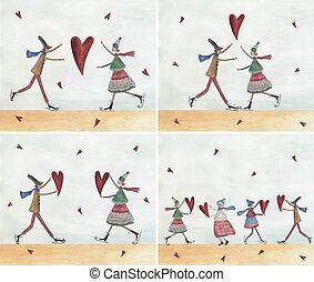 Greeting cards - Artistic work Watercolors on paper