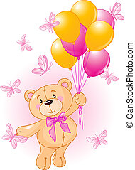 Girl Teddy Bear Hanging from a Balloons