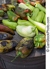 Roasted green peppers on the barbecue - Roasted green...