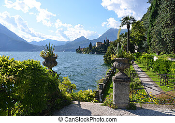 vista, lago, como, chalet, Monastero, Italia