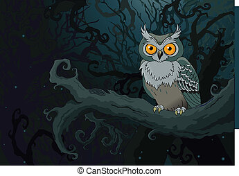 Night owl - Owl sitting upon a tree branch in the ninthly...