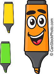 Cartoon smiling marker character - Cartoon yellow, green and...