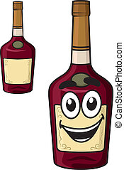 Cartoon smiling alcohol bottle - Cartoon smiling alcohol...