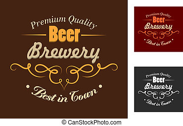 Brewery emblem or logo in retro style - Yellow, red and...