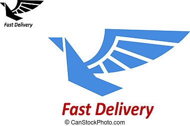 Delivery or shipping emblem with flying bird
