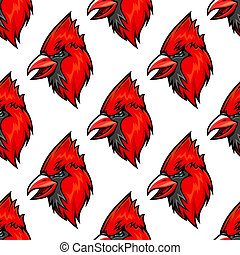 Red cardinal bird seamless pattern