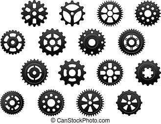 Gears and pinions silhouettes set - Gears and pinions...