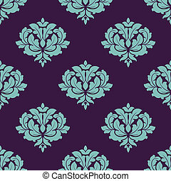 Turquoise colored floral seamless pattern in damask style...
