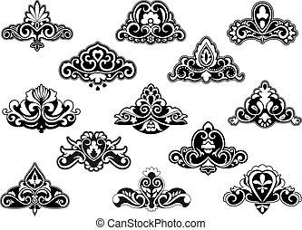 Decorative floral design elements and motifs