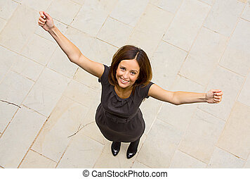 happy young woman celebrating.