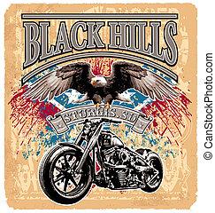 blackhills rider - black hills motorcycle vector...