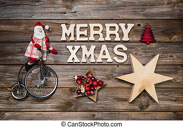 Merry Xmas greeting card with text. Red Santa Claus on...